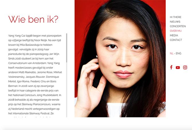 Yang Yang Cai (1998) begon met pianospelen op vijfjarige leeftijd bij Noor Relijk. Al op tienjarige leeftijd werd zij leerling van de beroemde pianopedagoog Jan Wijn. Sinds 2015 studeert ze bij hem aan het Conservatorium van Amsterdam.